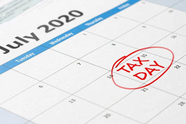 Tax day filing deadline pushed back to July 15 marked on 2020 calendar.